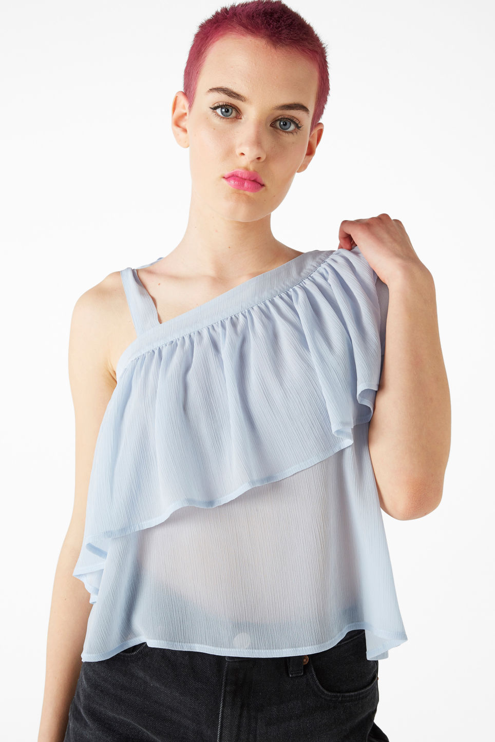 Model front image of Monki asymmetric ruffle shoulder top in blue