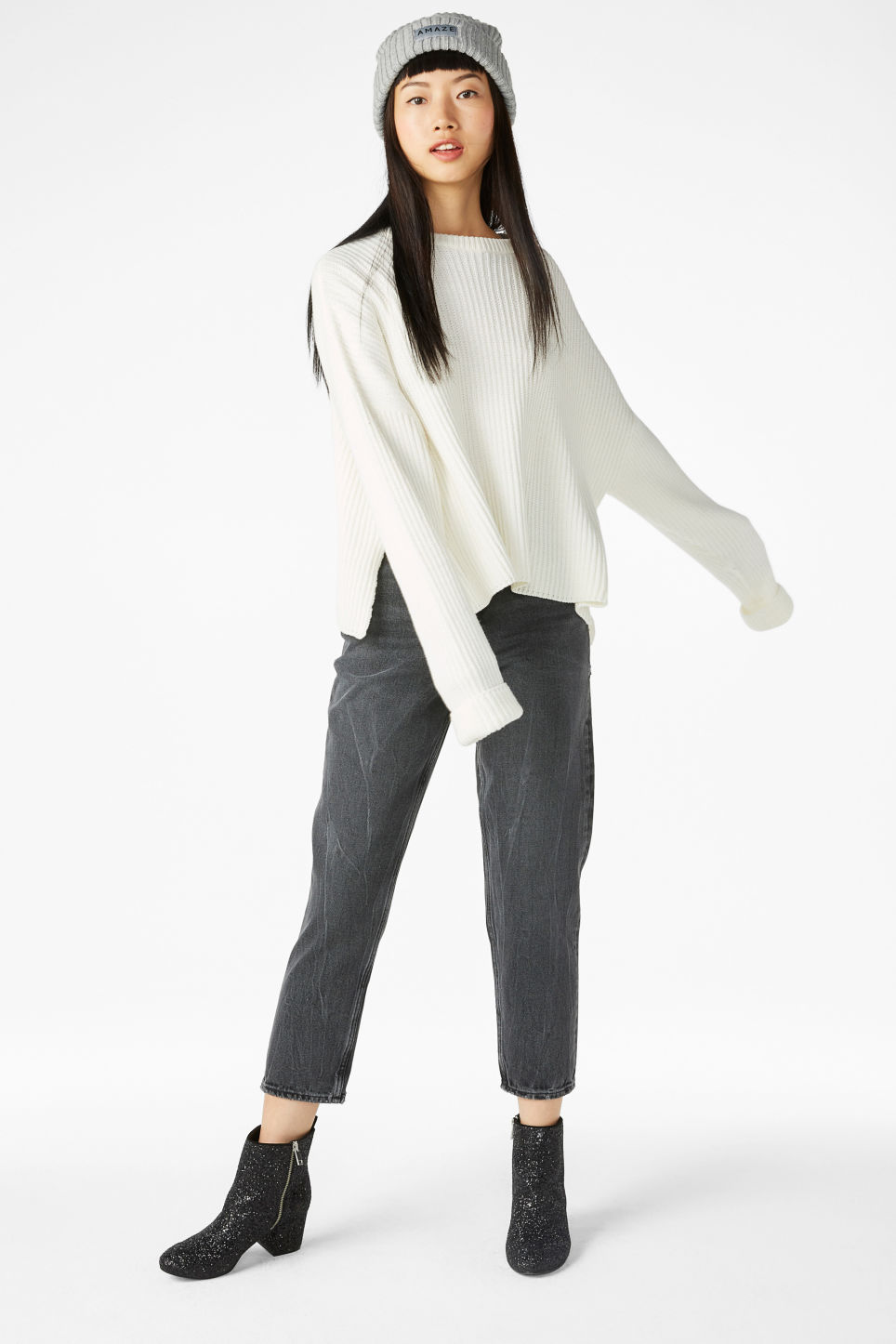 Model front image of Monki knit sweater in white
