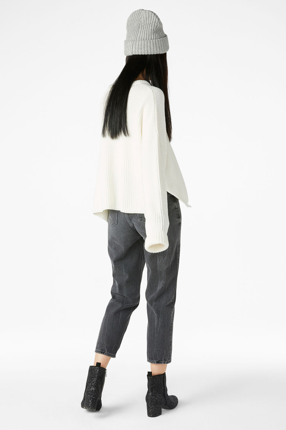 Model back image of Monki knit sweater in white