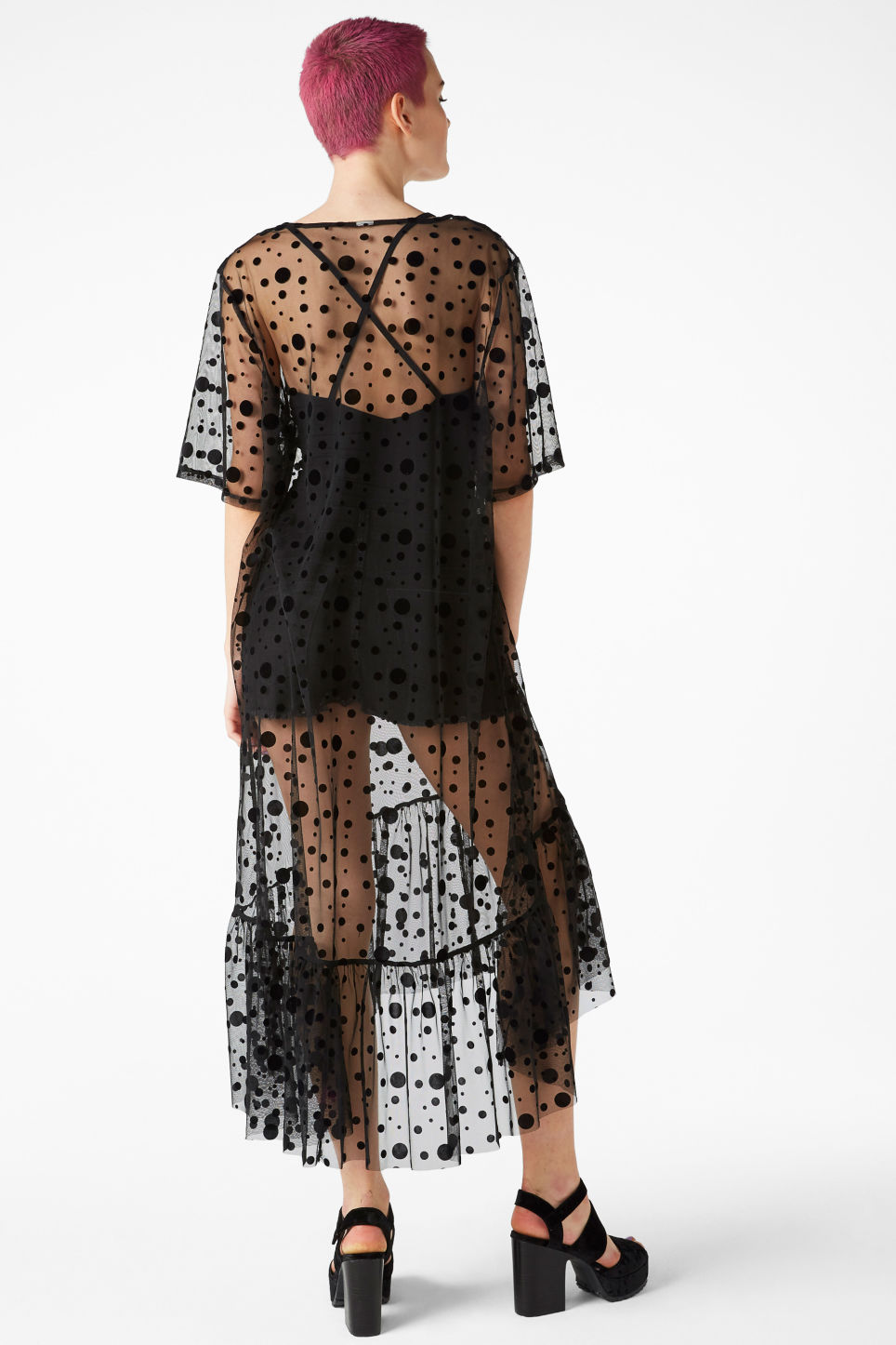 Model back image of Monki long sheer ruffle dress in black
