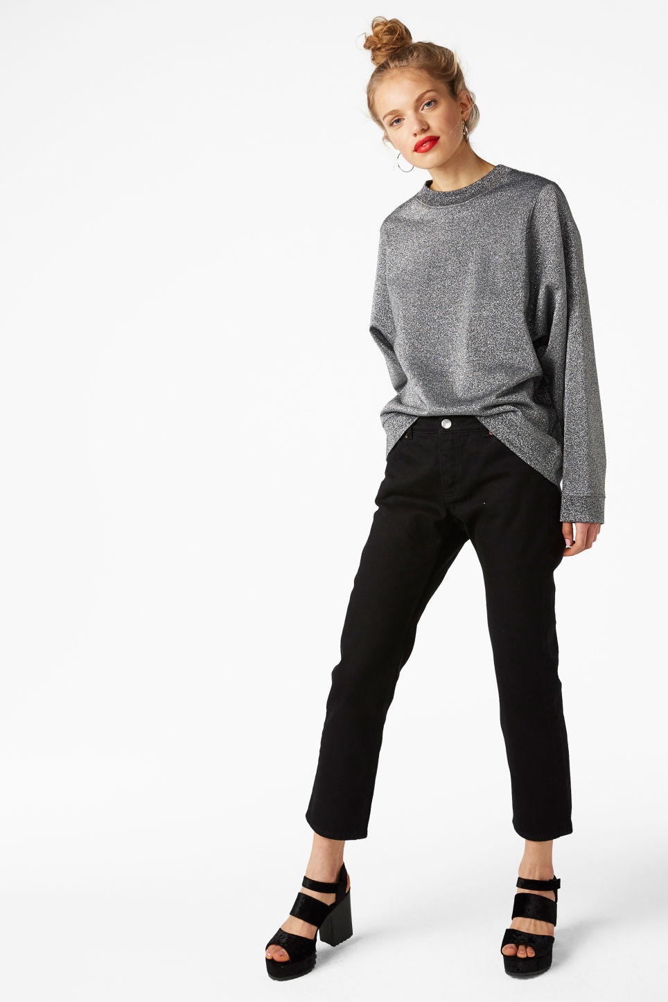 Model front image of Monki loose-fit sweater in grey