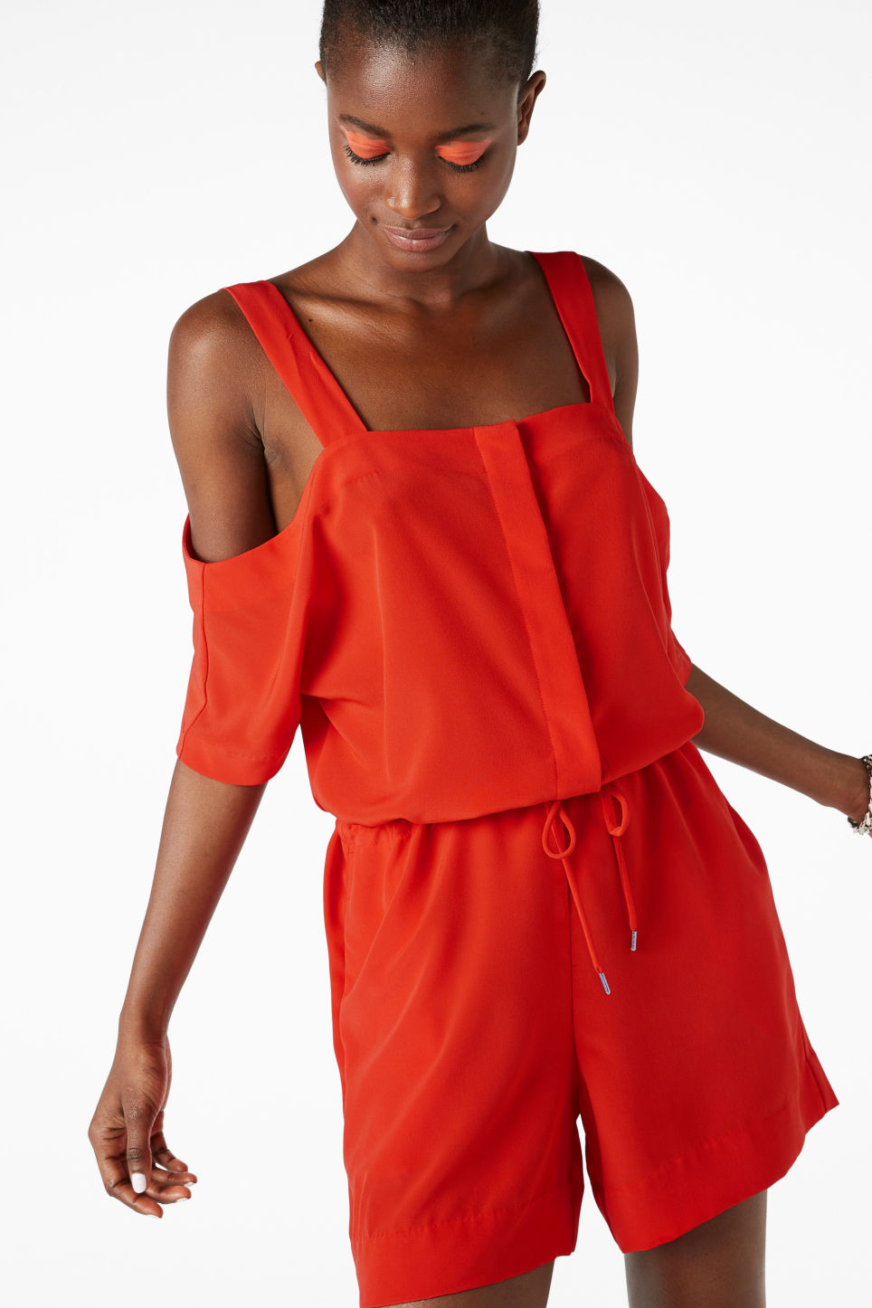 Model front image of Monki cold shoulder playsuit in red