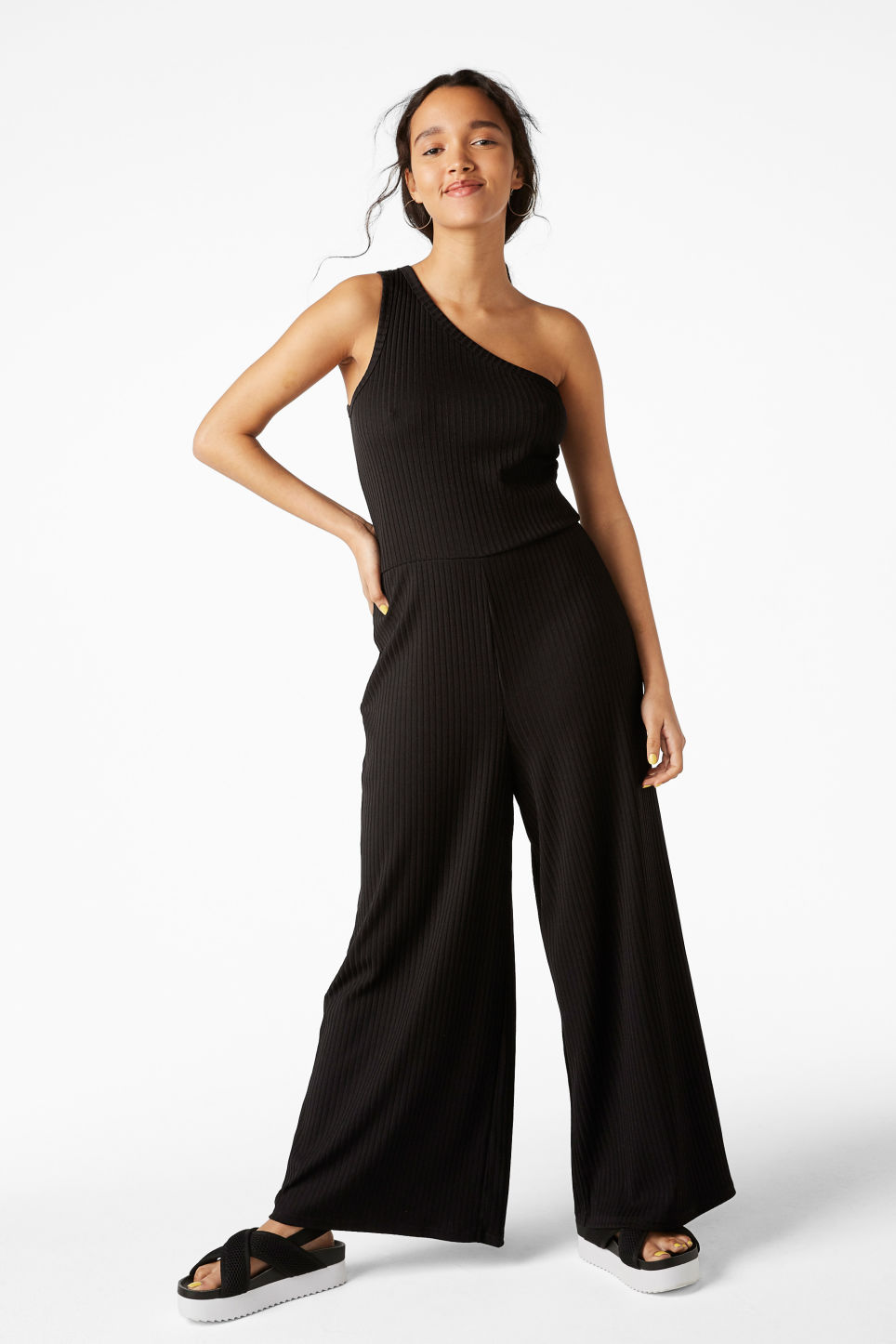 Model front image of Monki one-shoulder ribbed jumpsuit in black