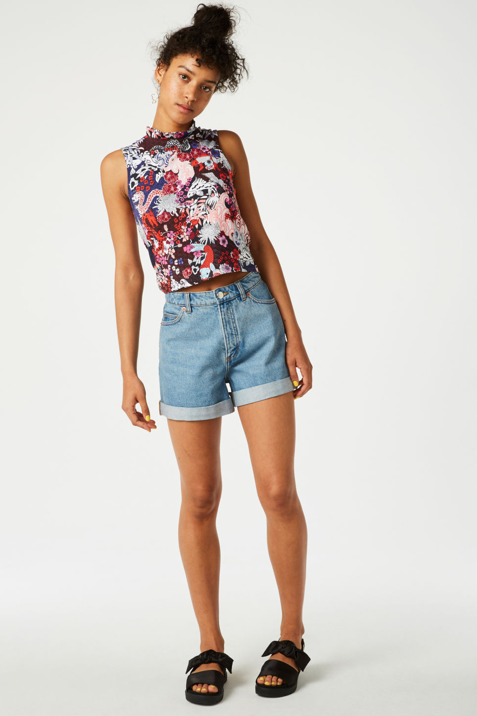 Model front image of Monki ruffle neck cropped top in white