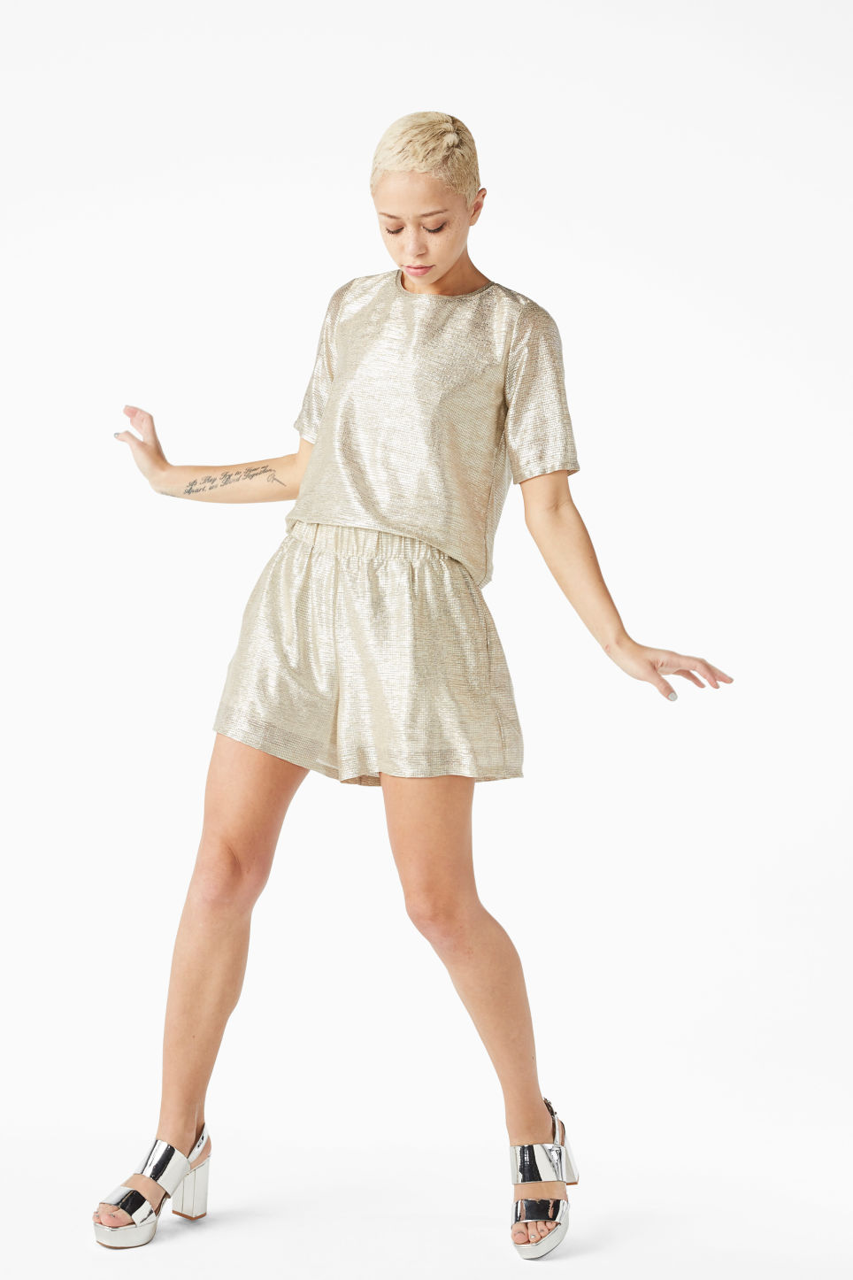 Model front image of Monki party top in silver