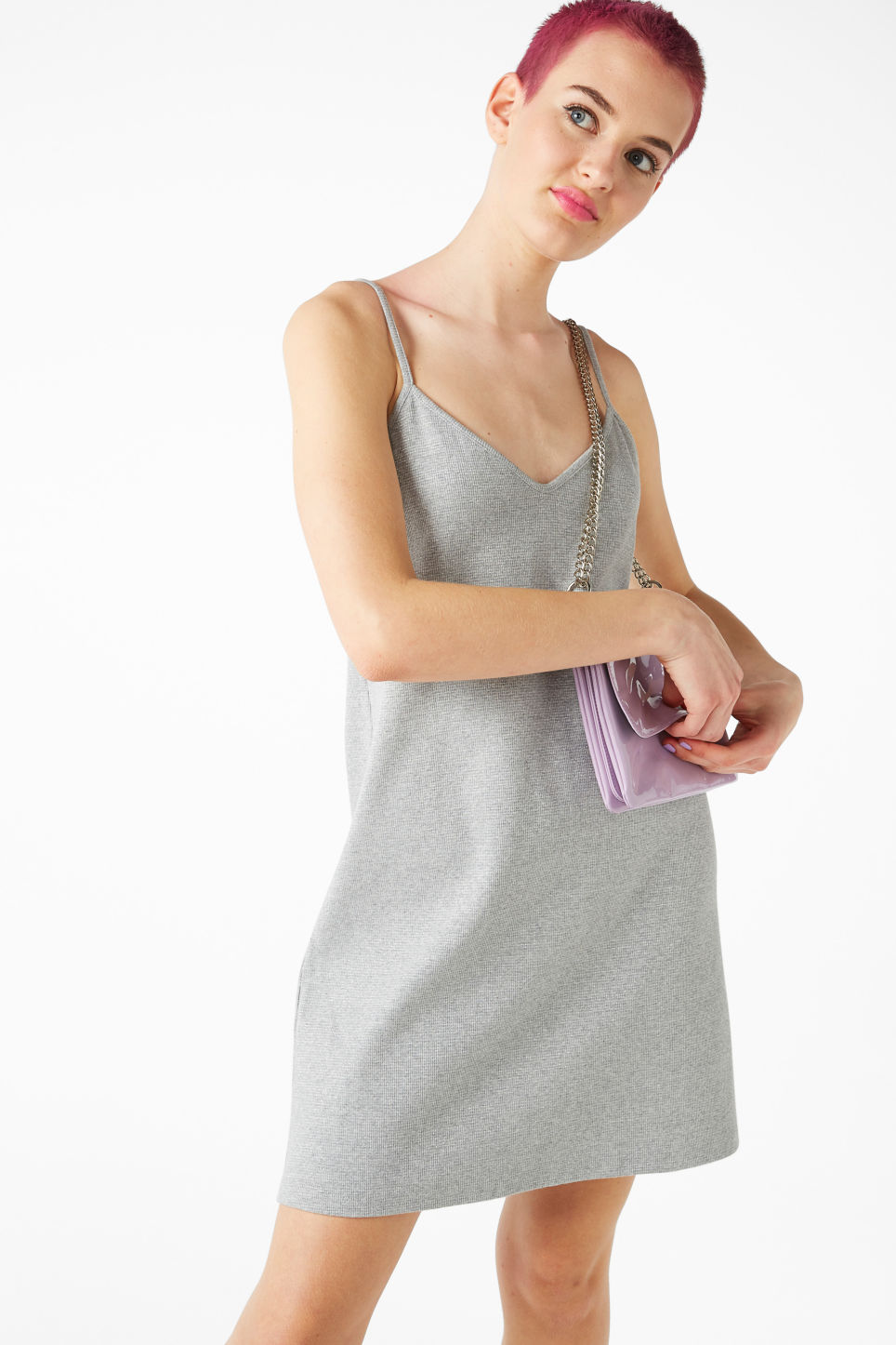Model front image of Monki slip dress in grey