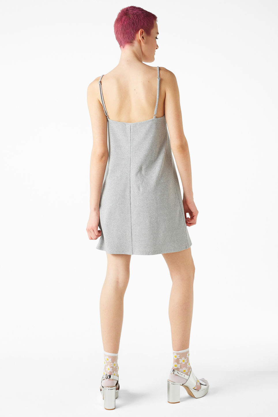 Model back image of Monki slip dress in grey