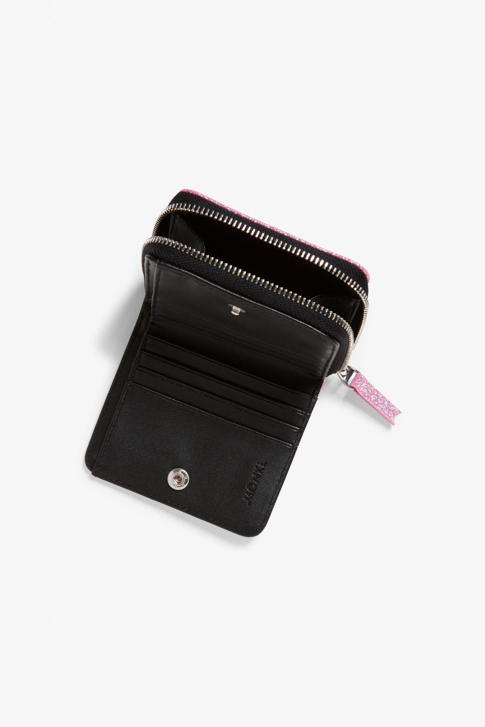 Model side image of Monki coin purse wallet in pink