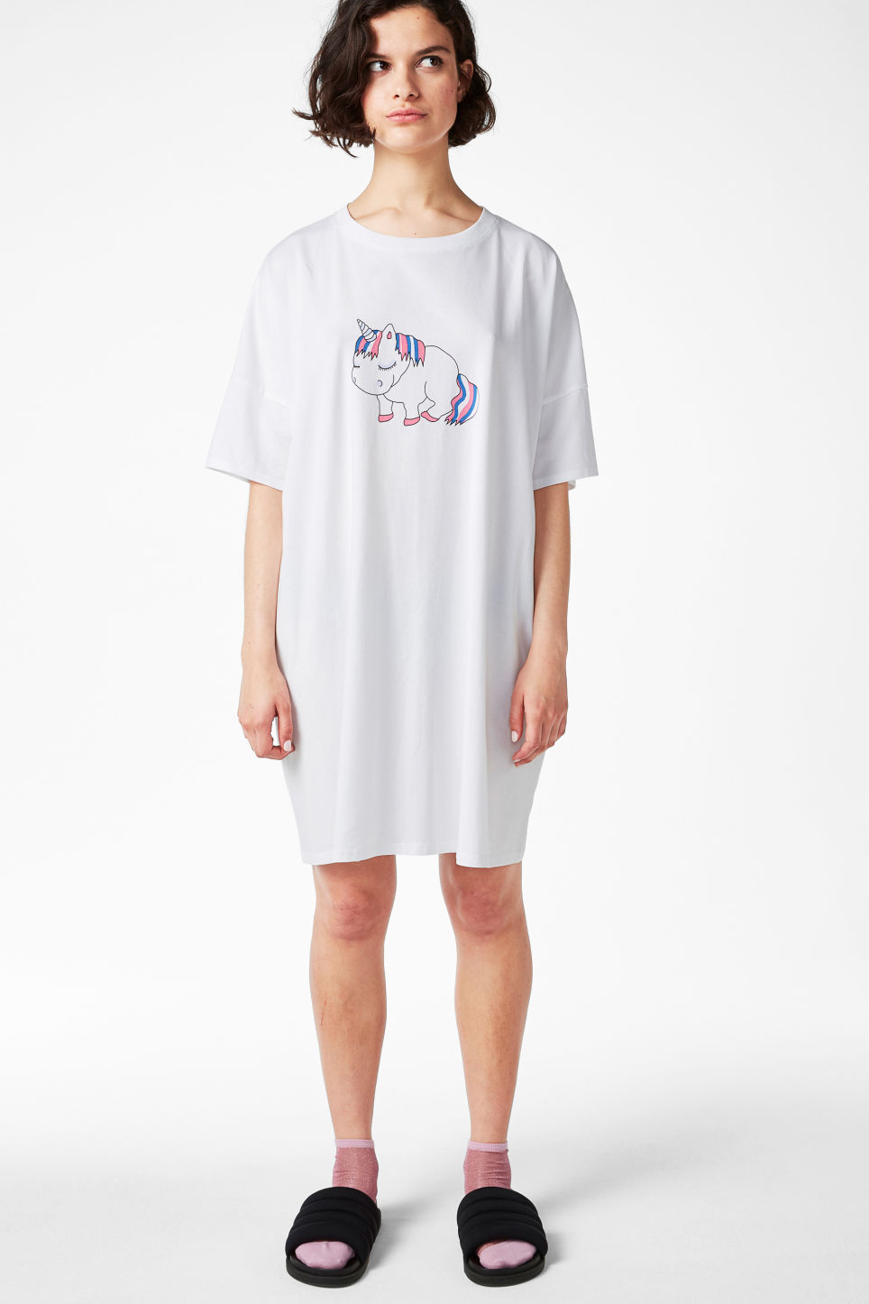 Model front image of Monki sleep tee in white