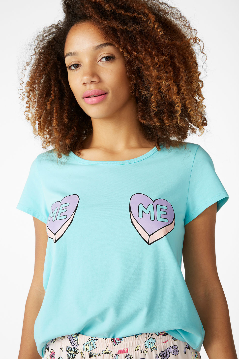 Model front image of Monki matching pyjamas in turquoise