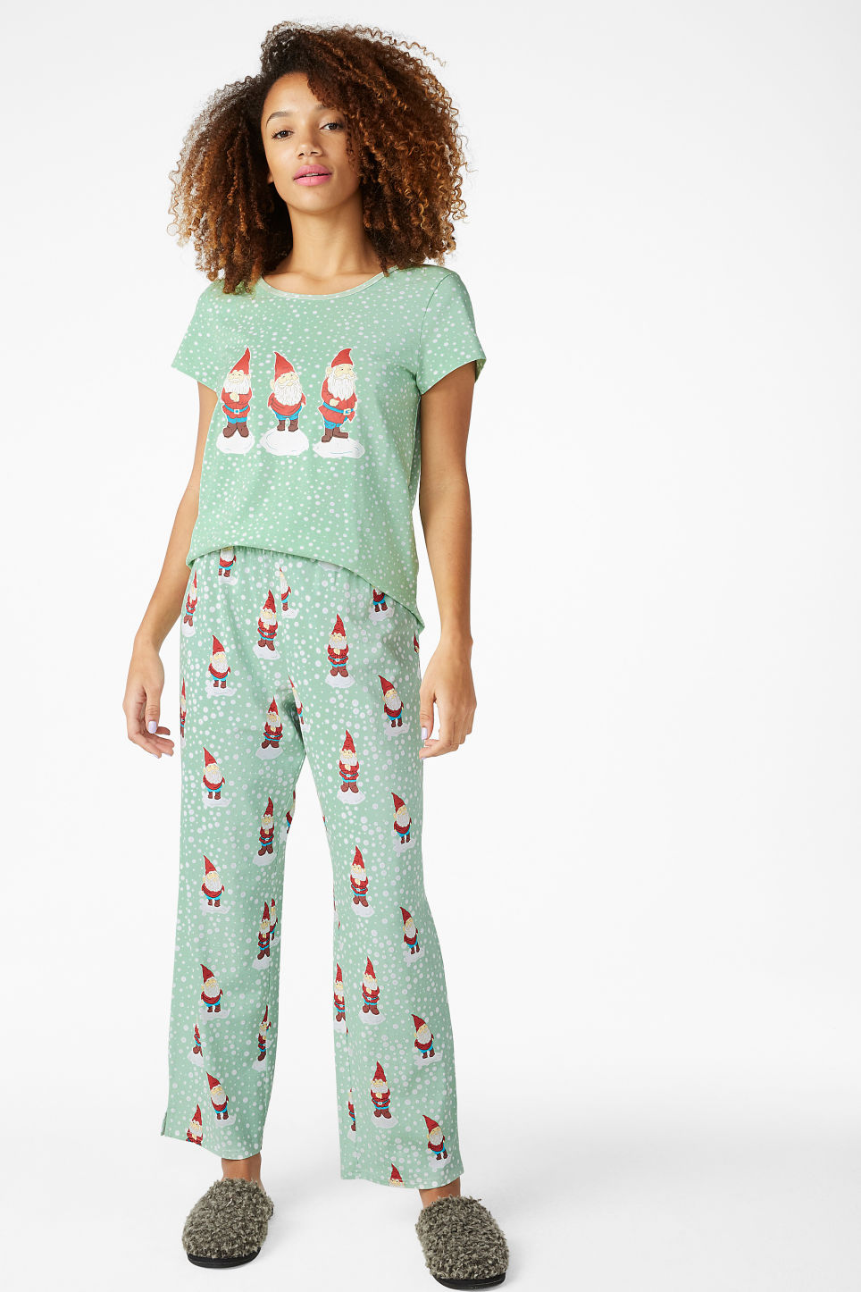 Model front image of Monki matching pyjamas in green