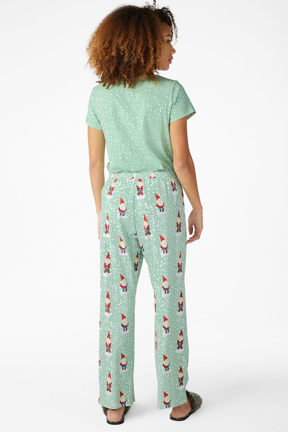 Model back image of Monki matching pyjamas in green