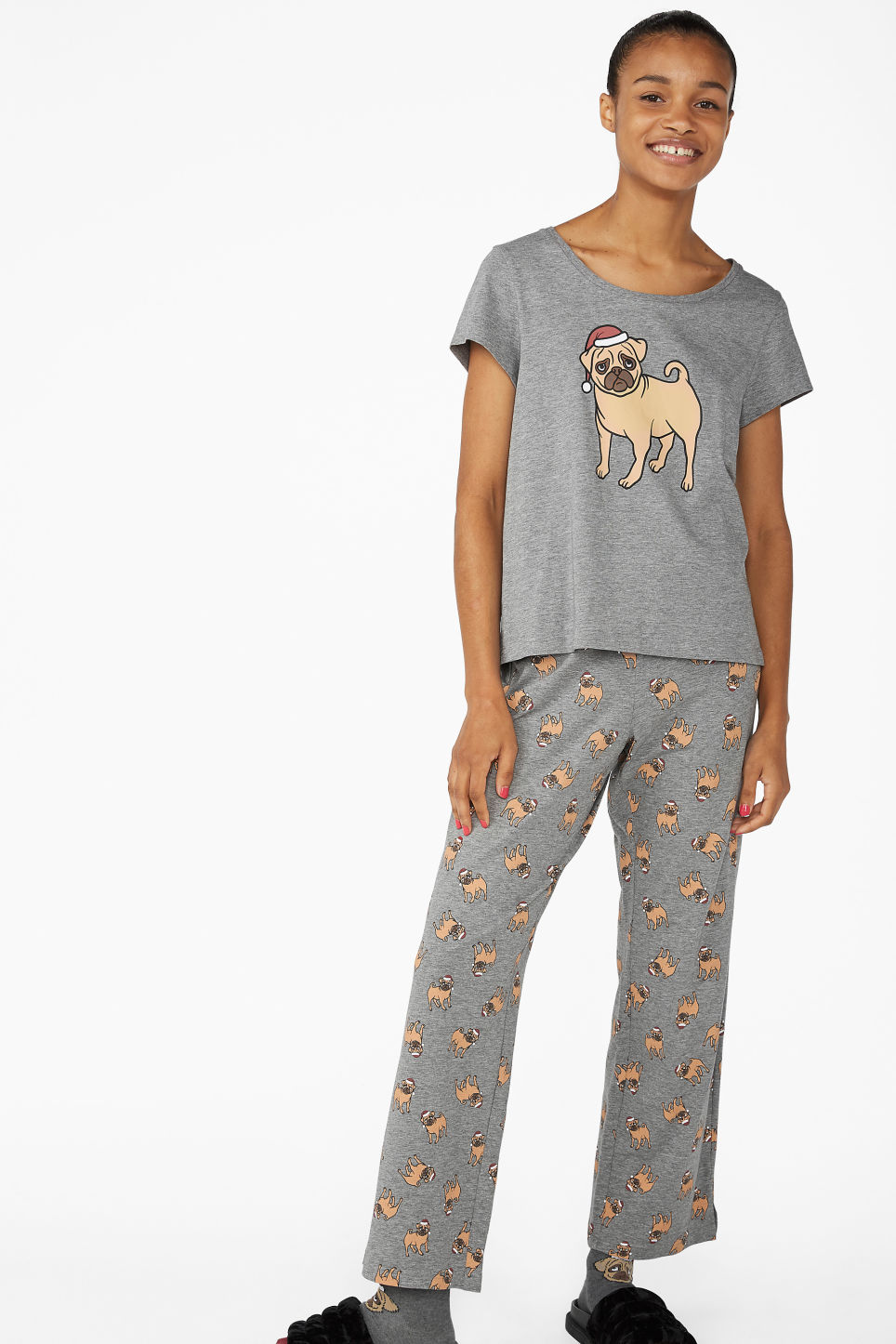 Model front image of Monki matching pyjamas in grey