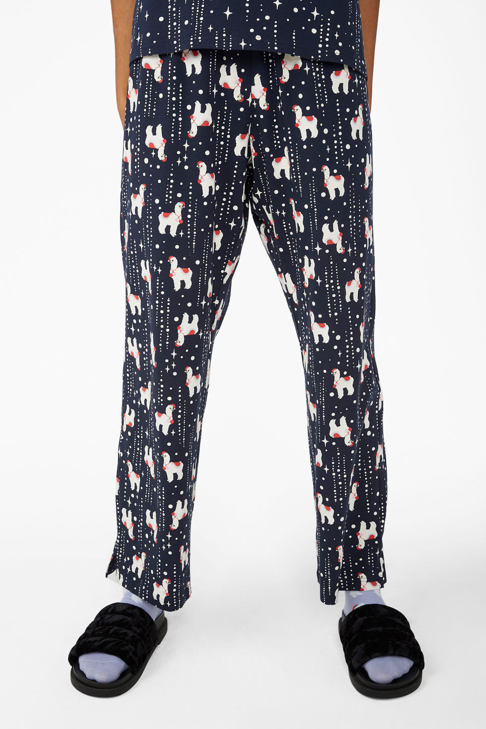 Model side image of Monki matching pyjamas in blue