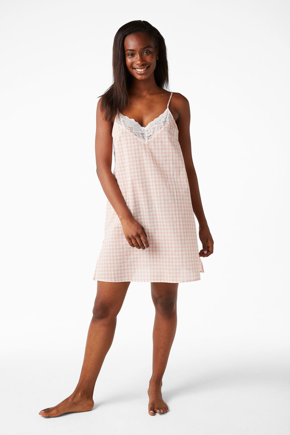 Model front image of Monki checkered nighty slip in pink