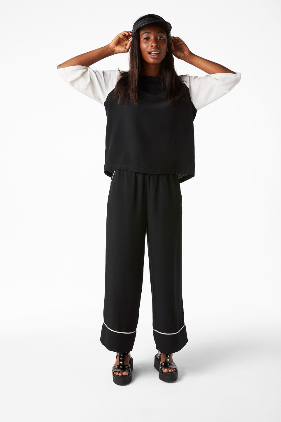 Model front image of Monki raglan top in black