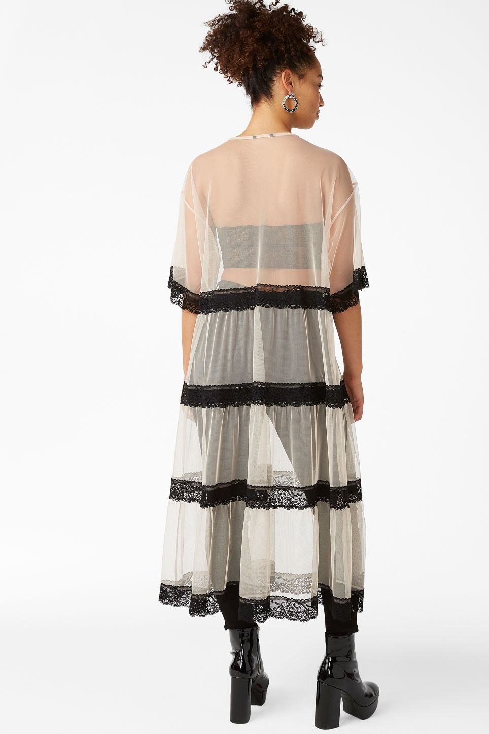 Model back image of Monki long mesh and lace dress in black