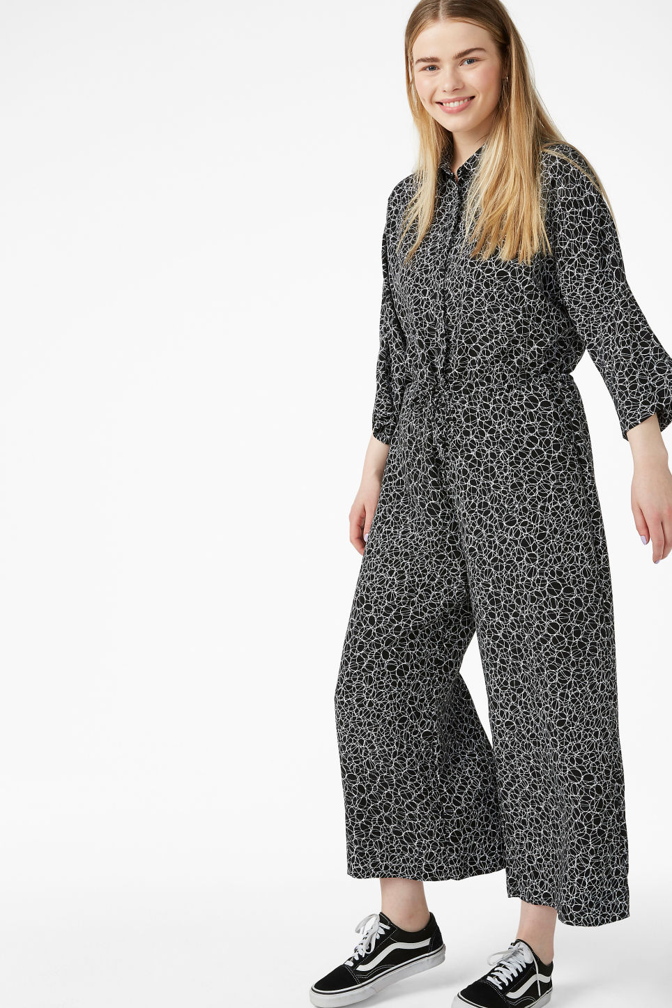 Model front image of Monki wide fitting jumpsuit  in black