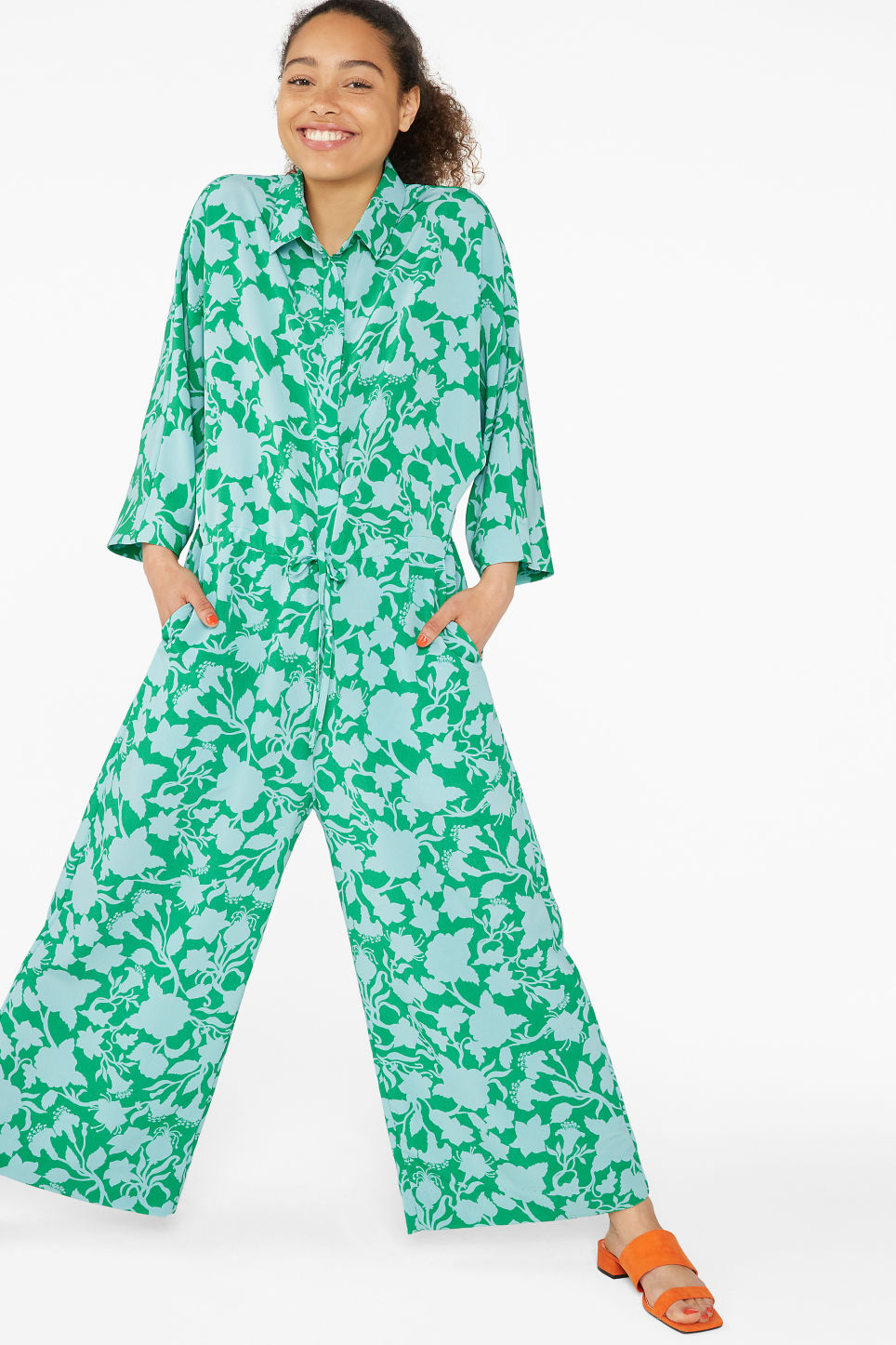 Model front image of Monki wide fitting jumpsuit  in green