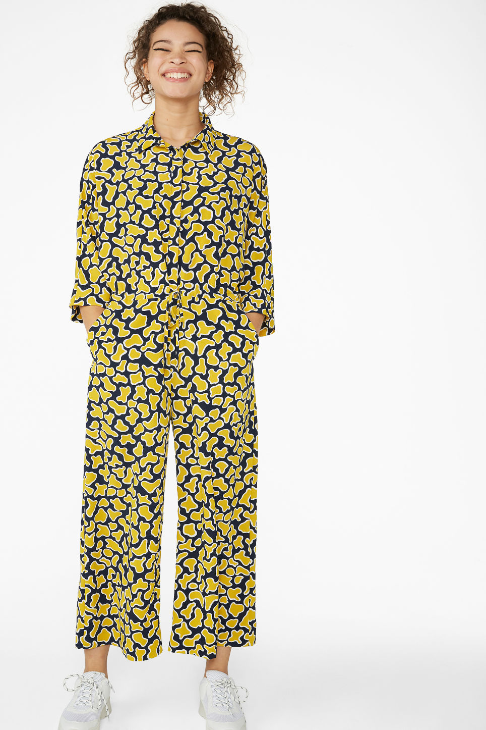 Model front image of Monki wide fitting jumpsuit  in blue