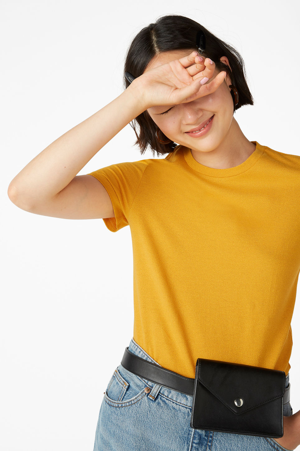 Model front image of Monki glitter cotton tee in yellow