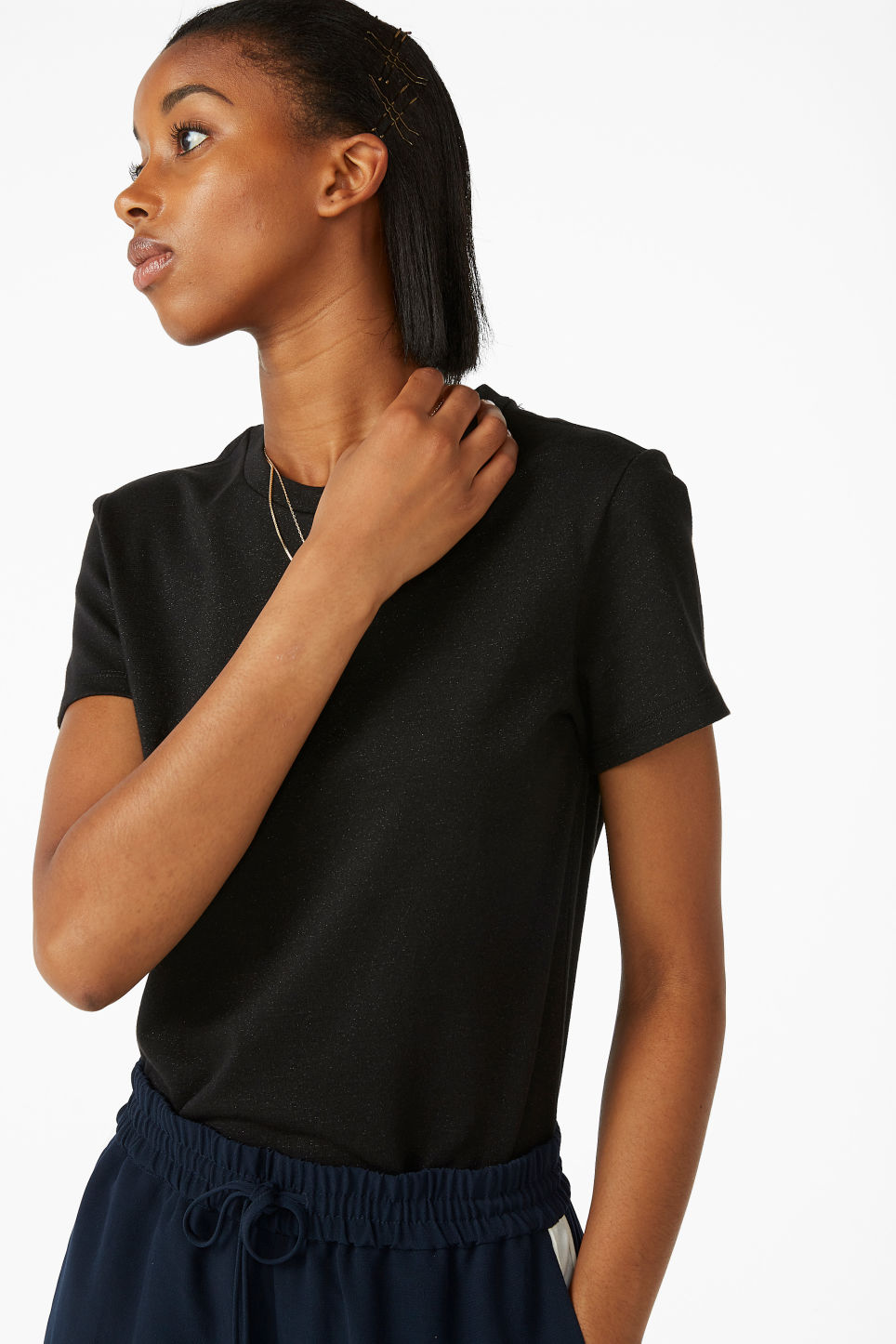 Model front image of Monki glitter cotton tee in black