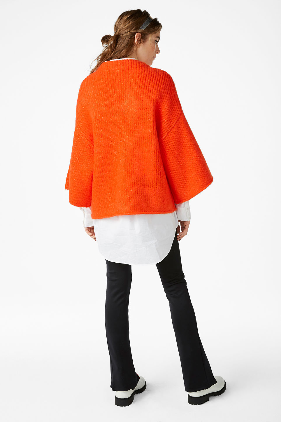 Model back image of Monki bell sleeve knit sweater in orange