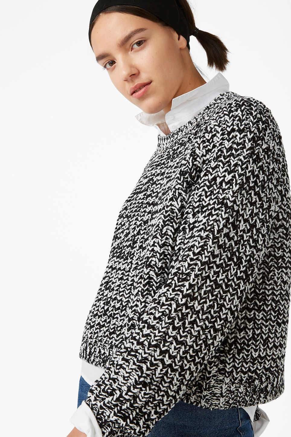 Model front image of Monki knitted sweater in black