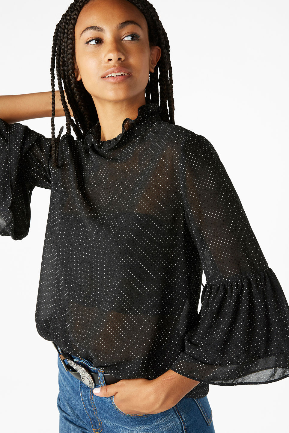 Model front image of Monki trumpet sleeved blouse in black
