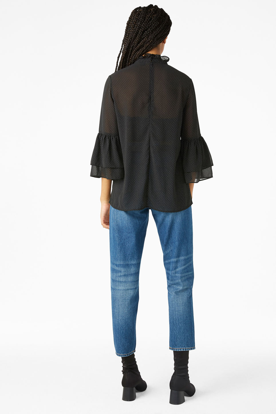 Model back image of Monki trumpet sleeved blouse in black