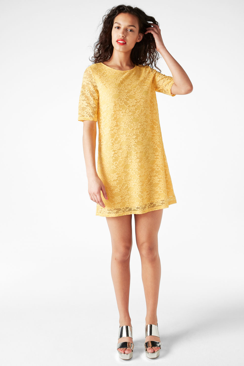 Model front image of Monki scoop neck lace dress in yellow