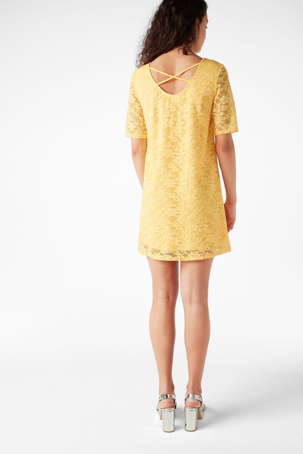 Model back image of Monki scoop neck lace dress in yellow