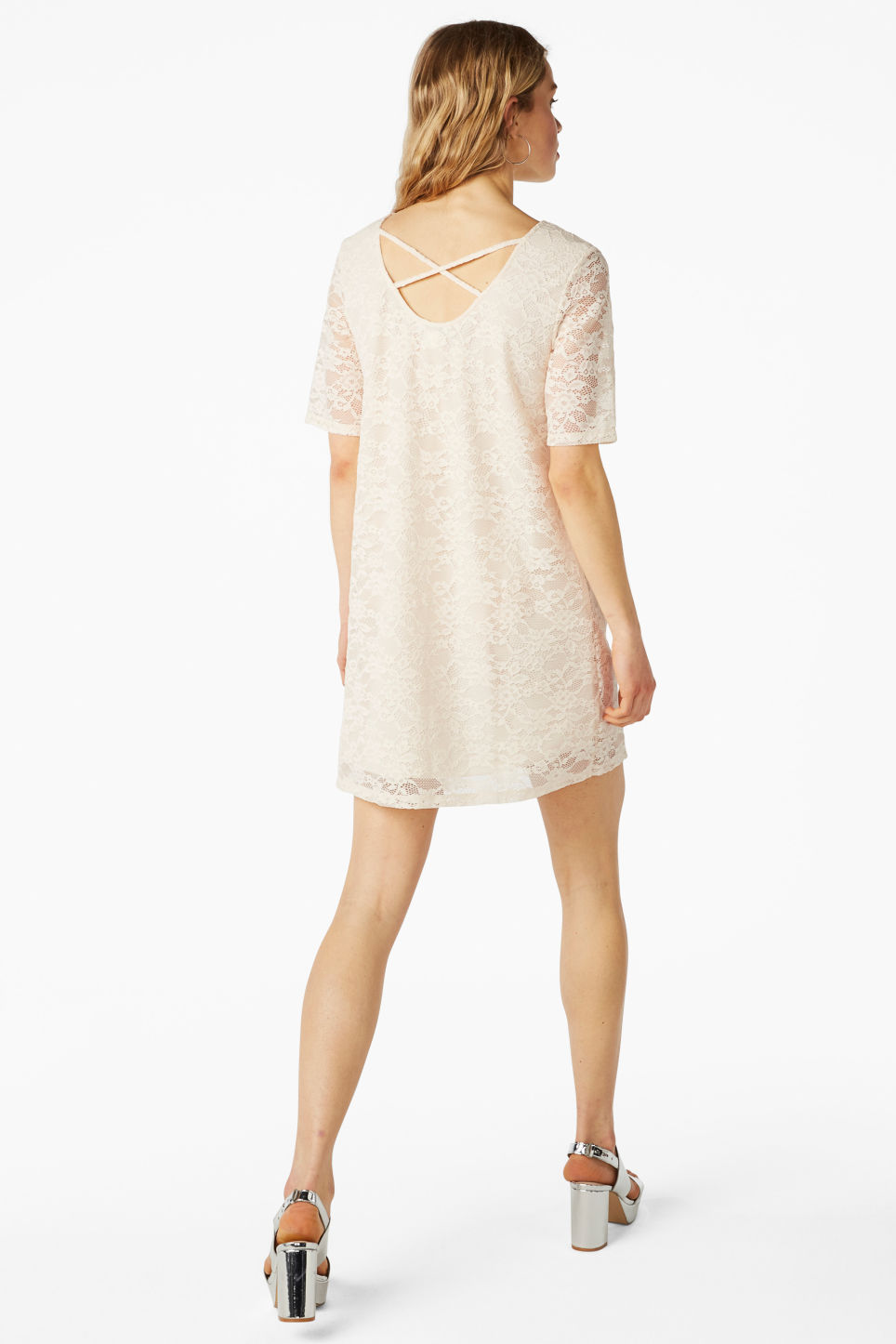 Model back image of Monki scoop neck lace dress in white