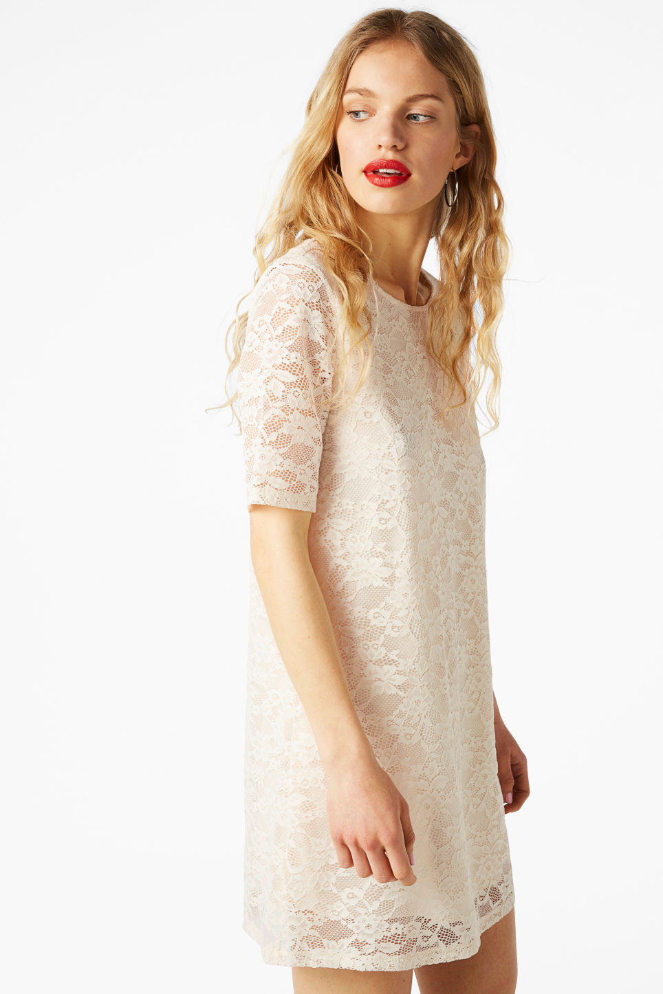 Model front image of Monki scoop neck lace dress in white