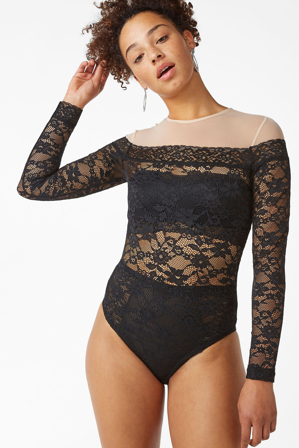Model front image of Monki limited edition lace bodysuit in black