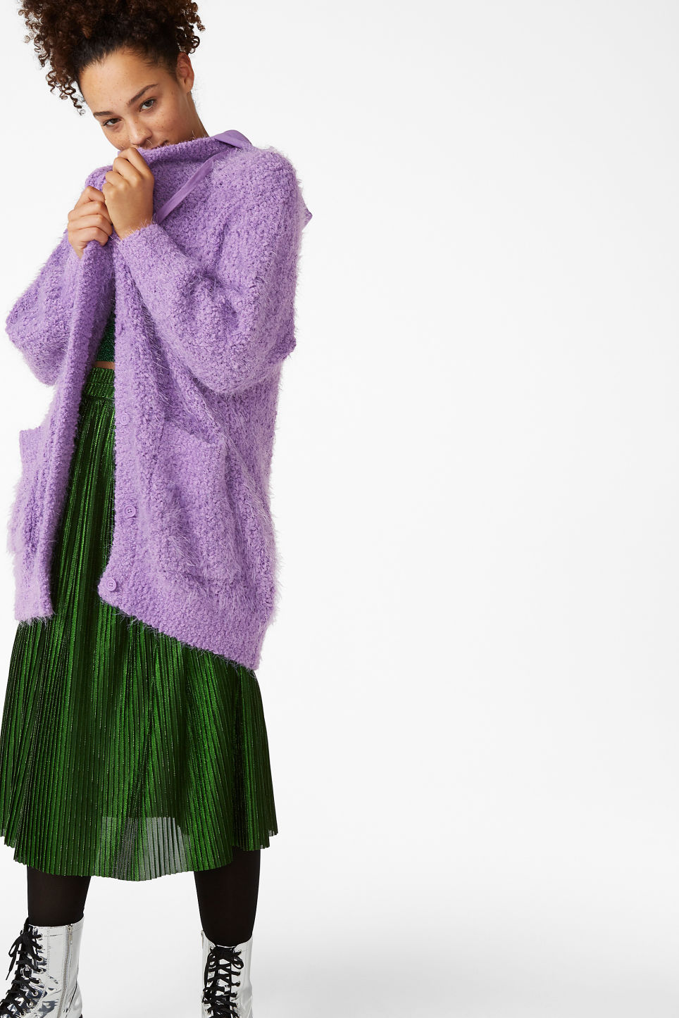 Model front image of Monki oversize hood cardigan in purple