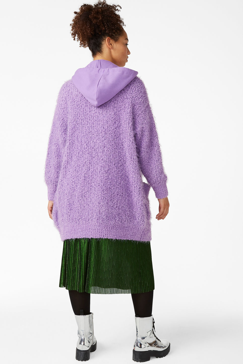 Model back image of Monki oversize hood cardigan in purple