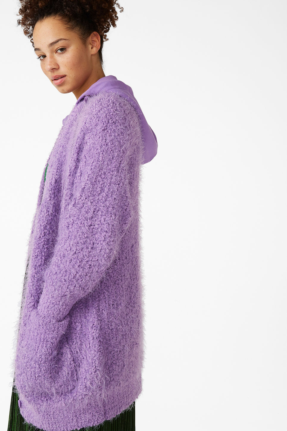Model side image of Monki oversize hood cardigan in purple