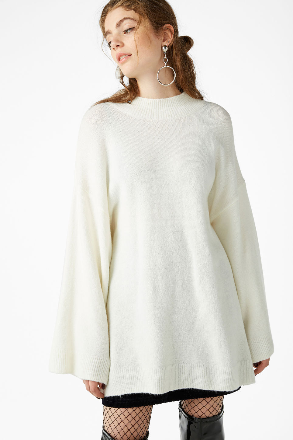 Model front image of Monki long knit sweater in white
