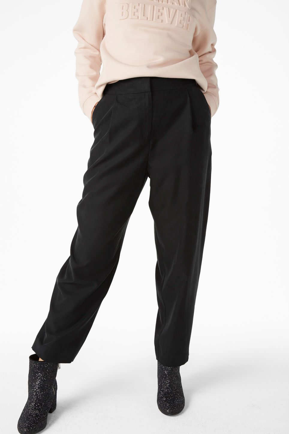 Model front image of Monki high waisted trousers in black