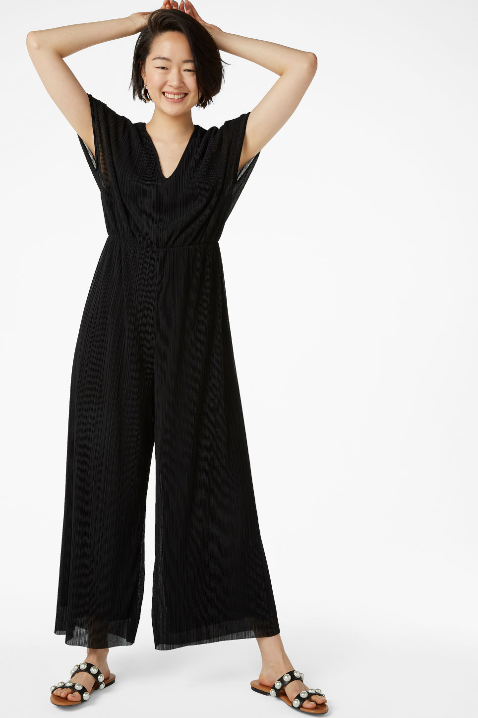 Model front image of Monki pleated jumpsuit in black
