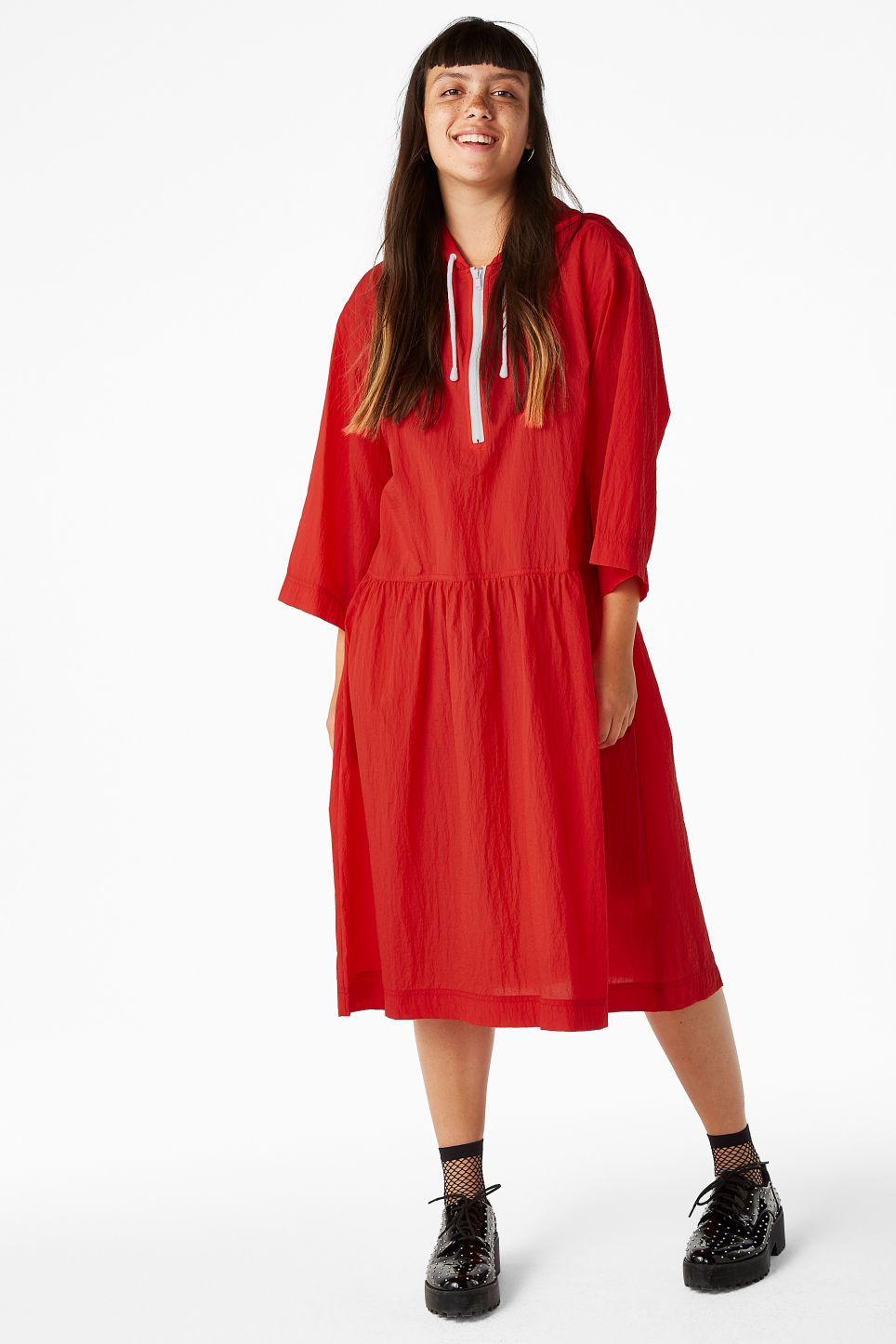 Model front image of Monki long hoodie dress in red