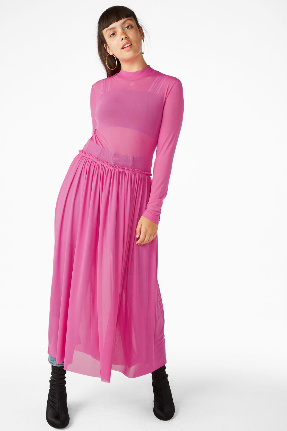Model front image of Monki long dress with gathered waist in pink