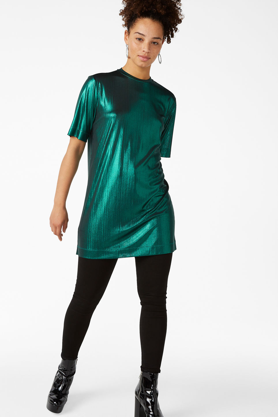 Model front image of Monki metallic t-shirt dress in turquoise