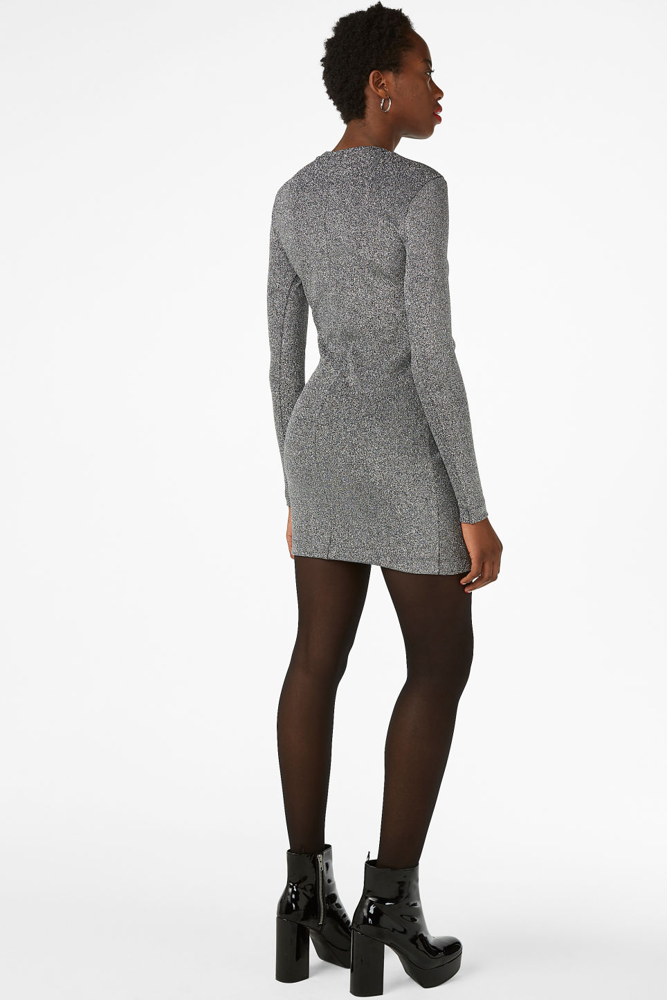 Model back image of Monki long-sleeved dress in black