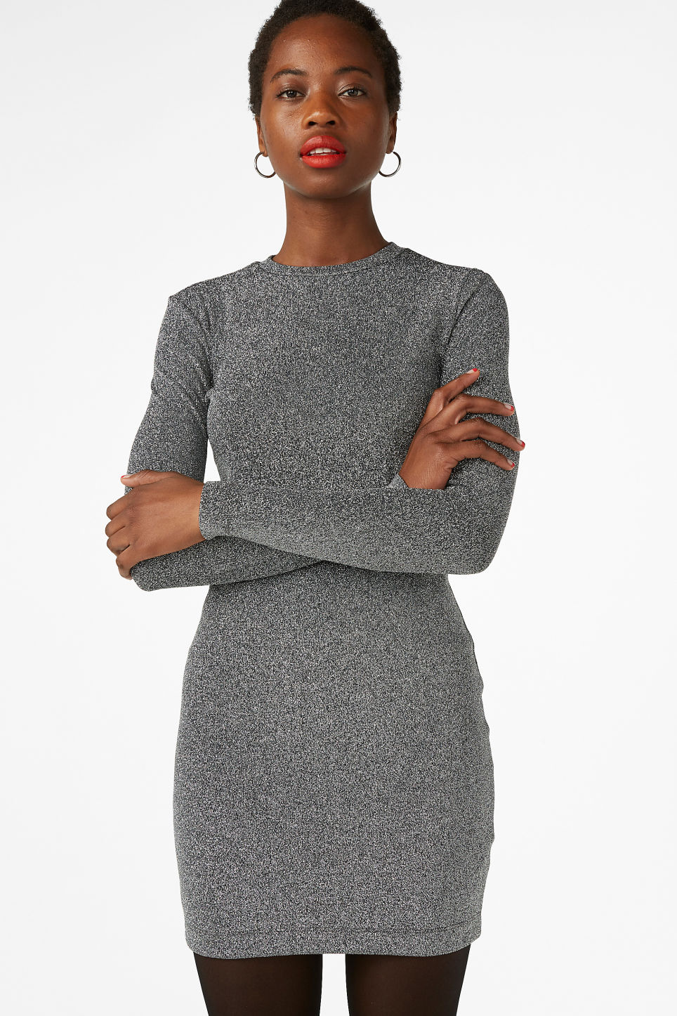 Model front image of Monki long-sleeved dress in black