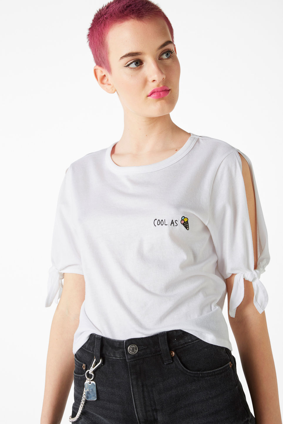 Model front image of Monki cropped tee with knot detail in white