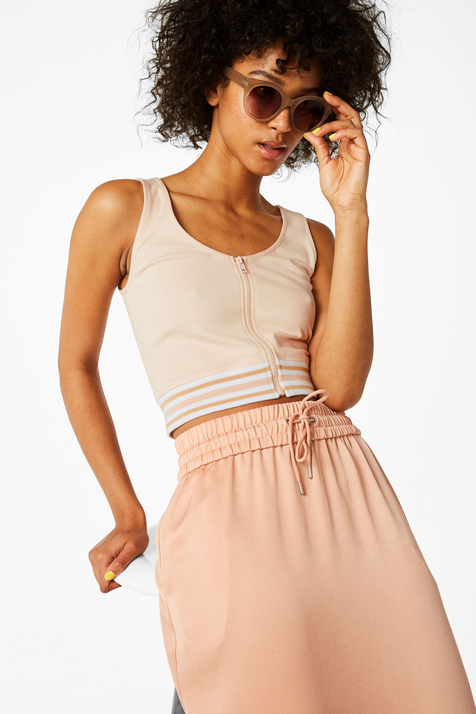 Model front image of Monki cropped singlet in orange