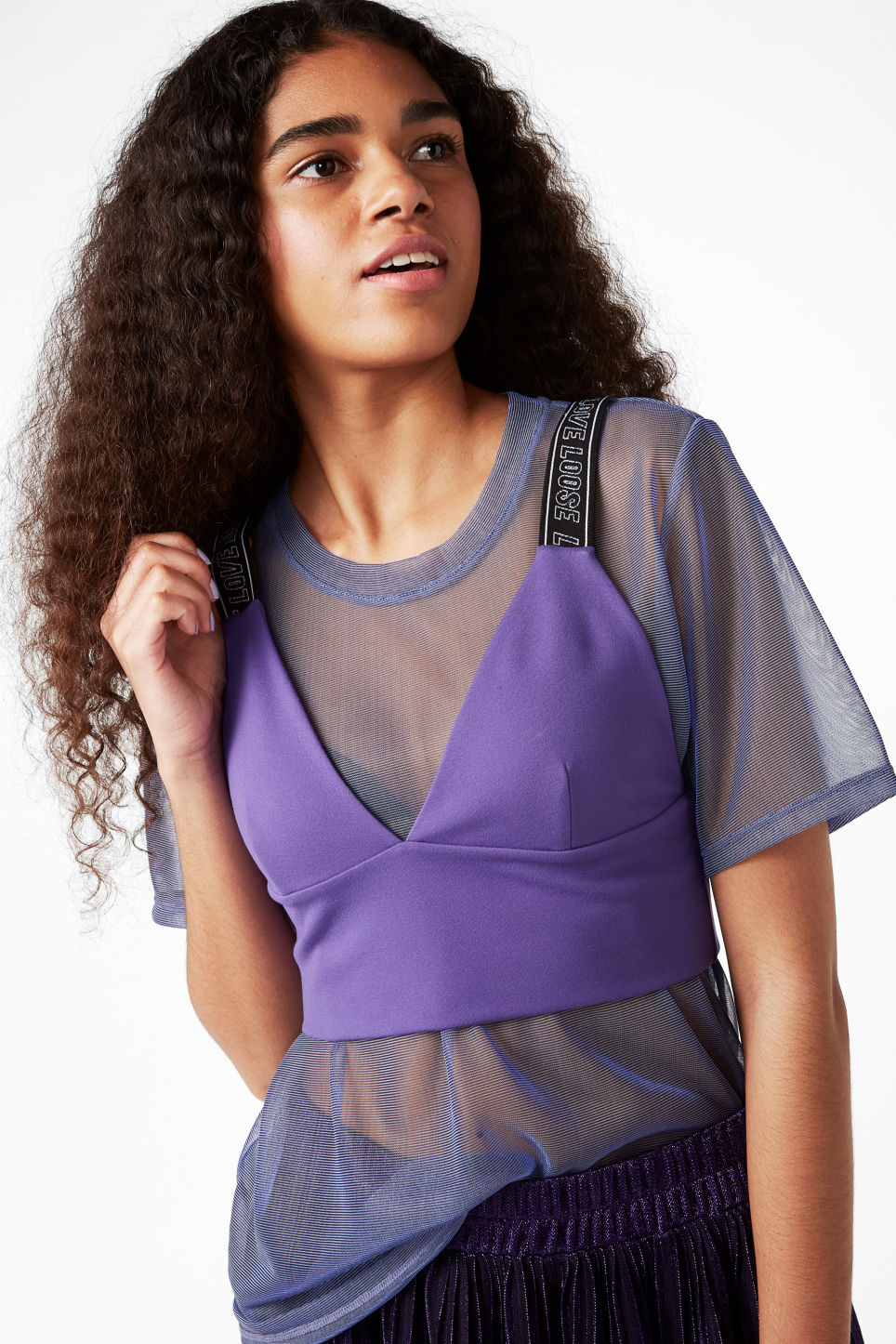 Model front image of Monki bra top with straps in purple
