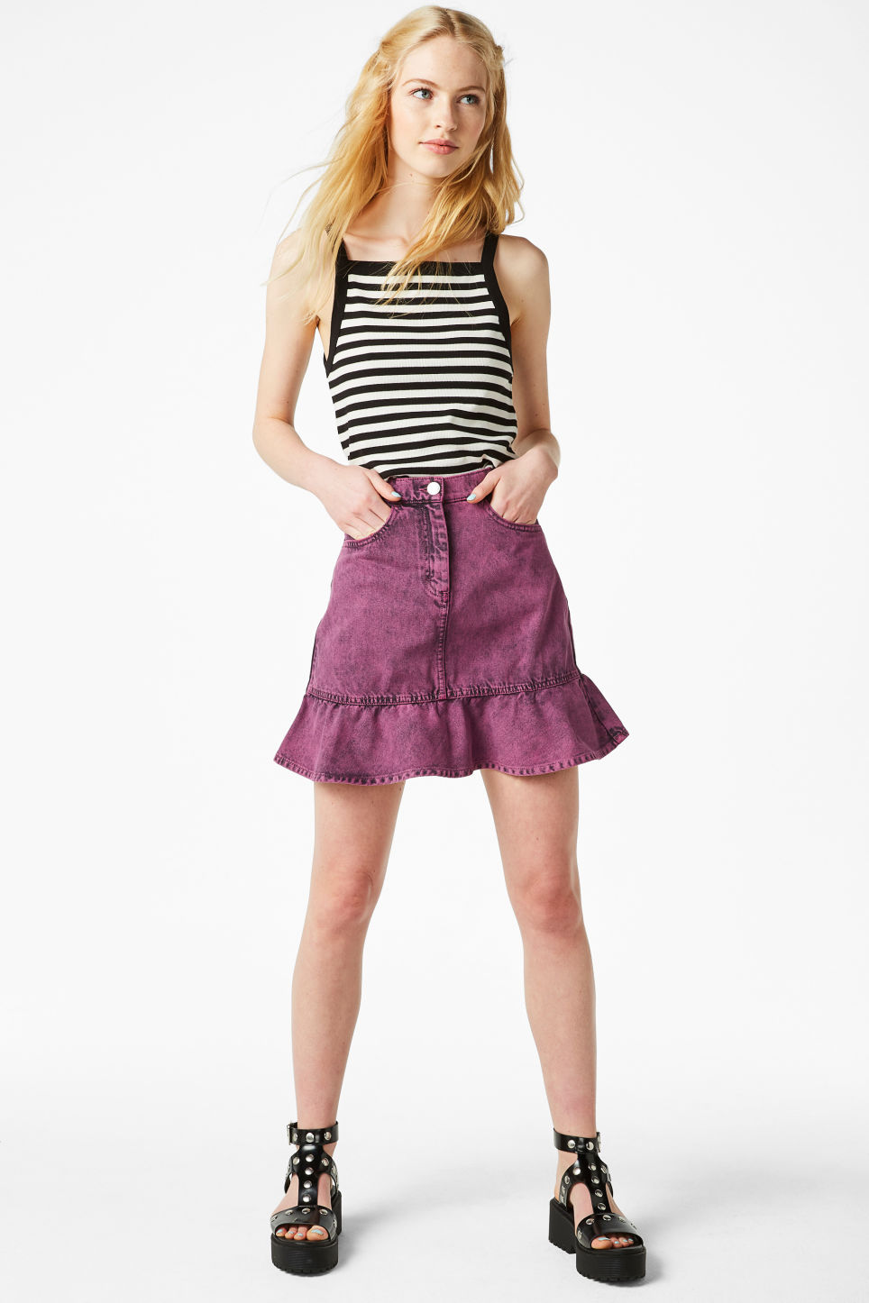 Model front image of Monki denim ruffle skirt in pink